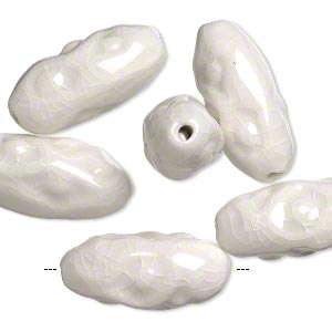 bead, crackle glazed porcelain, white, 33x15mm textured oval with 3mm hole. sold per pkg of 6.