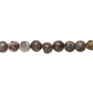 bead, crazy horse™ stone (natural), 5-6mm uneven round, d grade, mohs hardness 3-1/2 to 4. sold per 15-inch strand.