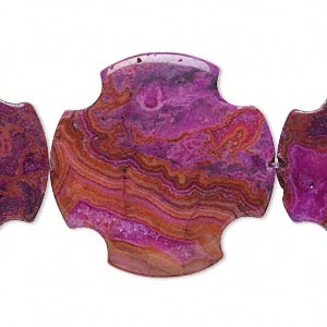 bead, crazy lace agate (dyed), fuchsia, 30x30mm flat cross, b grade, mohs hardness 6-1/2 to 7. sold per 16-inch strand.