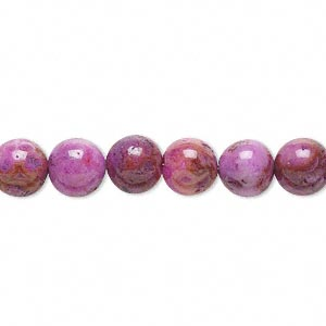 bead, crazy lace agate (dyed), fuchsia, 8mm round with 0.5-1.5mm hole, b grade, mohs hardness 6-1/2 to 7. sold per 16-inch strand.