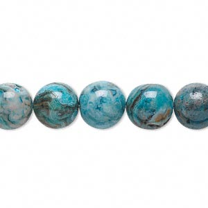 bead, crazy lace agate (dyed), light to dark blue, 10mm round, b grade, mohs hardness 6-1/2 to 7. sold per 16-inch strand.