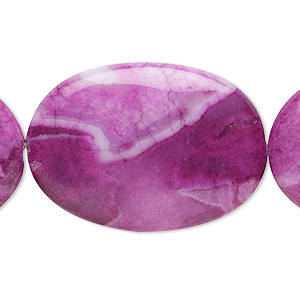 bead, crazy lace agate (dyed), purple, 35x25mm oval, b grade, mohs hardness 6-1/2 to 7. sold per 8-inch strand.