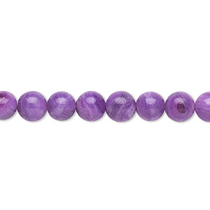 bead, crazy lace agate (dyed), purple, 6mm round, b grade, mohs hardness 6-1/2 to 7. sold per 16-inch strand.