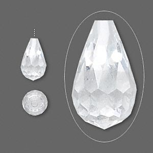 bead, cubic zirconia, clear, 12x7mm half-drilled faceted teardrop, mohs hardness 8-1/2. sold individually.