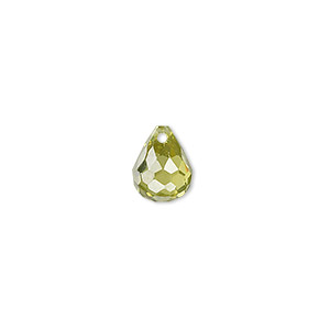bead, cubic zirconia, peridot green, 10x8mm top-drilled faceted teardrop, mohs hardness 8-1/2. sold per pkg of 2.
