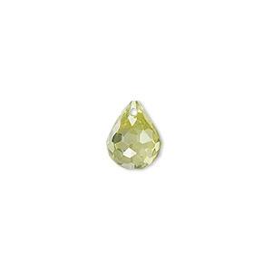 bead, cubic zirconia, peridot green, 11x9mm top-drilled faceted teardrop, mohs hardness 8-1/2. sold per pkg of 2.