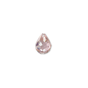 bead, cubic zirconia, pink, 10x8mm top-drilled faceted teardrop, mohs hardness 8-1/2. sold per pkg of 2.