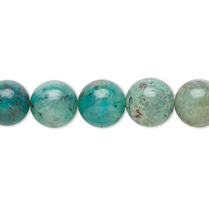 bead, cuprite in chrysocolla (natural), 10mm round with 0.5-1.5mm hole, b grade, mohs hardness 3 to 4. sold per 16-inch strand.