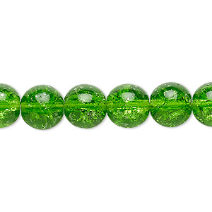 bead, czech crackle glass druk, green, 10mm round. sold per 16-inch strand, approximately 40 beads.