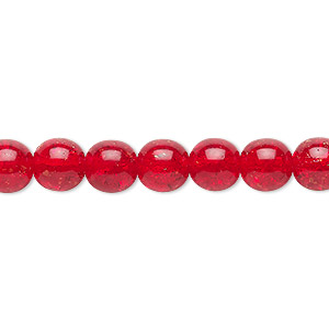 bead, czech crackle glass druk, ruby red, 8mm round. sold per 16-inch strand, approximately 50 beads.
