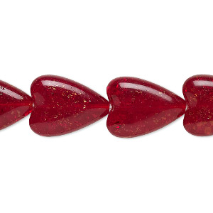 bead, czech crackle glass, translucent ruby red, 17x13mm heart. sold per 16-inch strand, approximately 20 beads.