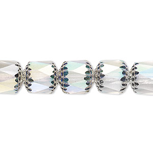 bead, czech dipped decor glass, clear apollo ab, 10mm round cathedral. sold per 16-inch strand.