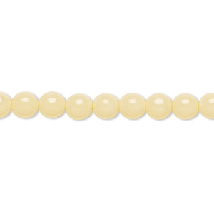 bead, czech dipped decor glass druk, cream, 6mm round. sold per 16-inch strand.
