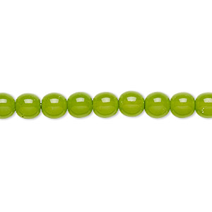 bead, czech dipped decor glass druk, lime green, 6mm round. sold per 16-inch strand.