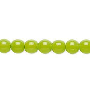 bead, czech dipped decor glass druk, lime green, 8mm round. sold per 16-inch strand.