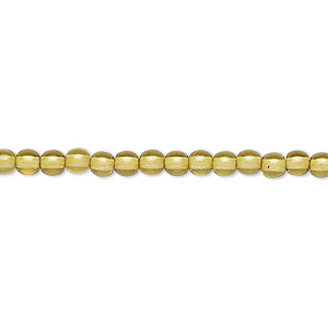 bead, czech dipped decor glass druk, olive, 4mm round. sold per 16-inch strand.