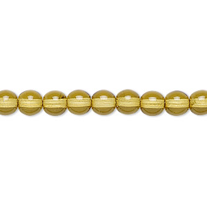 bead, czech dipped decor glass druk, olive, 6mm round. sold per 16-inch strand.