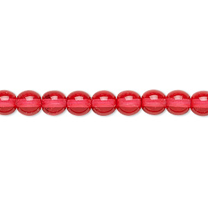 bead, czech dipped decor glass druk, red, 6mm round. sold per 16-inch strand.