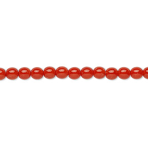 bead, czech dipped decor glass druk, red-orange, 4mm round. sold per 16-inch strand.