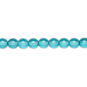 bead, czech dipped decor glass druk, turquoise blue, 6mm round. sold per 16-inch strand.