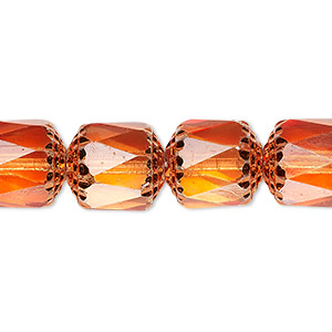 bead, czech dipped decor glass, tangerine apollo, 10mm round cathedral. sold per 16-inch strand.