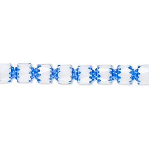 bead, czech dipped decor glass, white and medium blue apollo, 6mm round cathedral. sold per 16-inch strand.