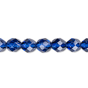 bead, czech fire-polished dipped decor glass, cobalt, 8mm faceted round. sold per 16-inch strand.
