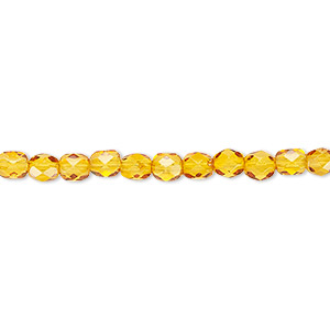 bead, czech fire-polished dipped decor glass, honey, 4mm faceted round. sold per 16-inch strand, approximately 100 beads.