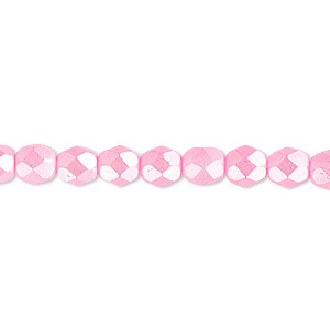 bead, czech fire-polished dipped decor glass, opaque pearlescent light pink, 6mm faceted round. sold per pkg of 1,200 (1 mass).