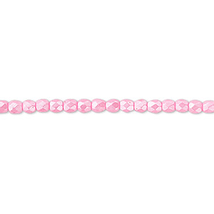 bead, czech fire-polished dipped decor glass, pearlescent light pink, 3mm faceted round. sold per 16-inch strand.