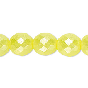 bead, czech fire-polished dipped decor glass, pearlescent light yellow, 12mm faceted round. sold per pkg of 600 (1/2 mass).