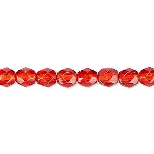 bead, czech fire-polished dipped decor glass, red, 6mm faceted round. sold per 16-inch strand, approximately 65 beads.