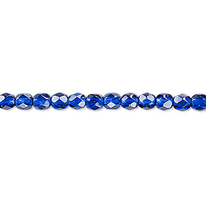 bead, czech fire-polished dipped decor glass, translucent cobalt, 4mm faceted round with 0.8-1mm hole. sold per pkg of 1,200 (1 mass).