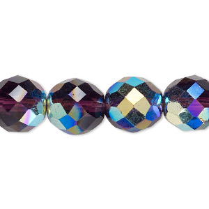 bead, czech fire-polished glass, amethyst purple ab, 12mm faceted round. sold per 16-inch strand.