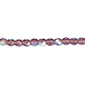 bead, czech fire-polished glass, amethyst purple ab, 4mm faceted round. sold per pkg of 1,200 (1 mass).