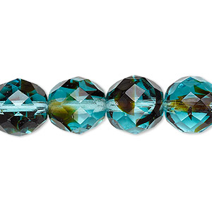bead, czech fire-polished glass, black and turquoise blue, 12mm faceted round. sold per 16-inch strand, approximately 35 beads.