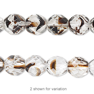 bead, czech fire-polished glass, clear / black / brown, 10mm faceted round. sold per 16-inch strand.