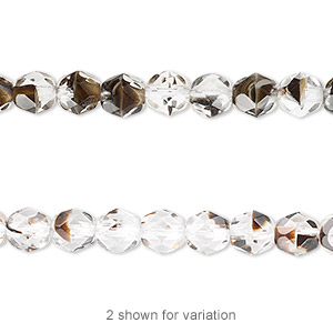 bead, czech fire-polished glass, clear / black / brown, 6mm faceted round. sold per 16-inch strand.