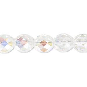 bead, czech fire-polished glass, clear ab. 10mm faceted round. sold per pkg of 600 (1/2 mass).