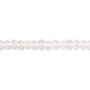 bead, czech fire-polished glass, clear ab, 5x4mm faceted rondelle. sold per pkg of 1,200 (1 mass).
