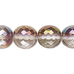 bead, czech fire-polished glass, clear and blush, 14mm faceted round. sold per 16-inch strand.
