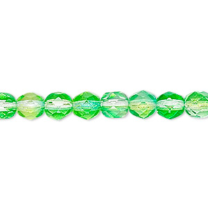 bead, czech fire-polished glass, clear and green, 6mm faceted round. sold per 16-inch strand, approximately 65 beads.