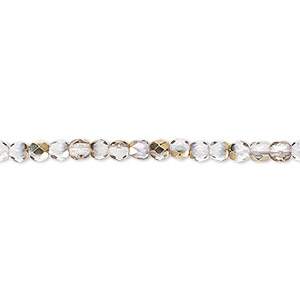 bead, czech fire-polished glass, clear and metallic gold, 3mm faceted round. sold per pkg of 1,200 (1 mass).