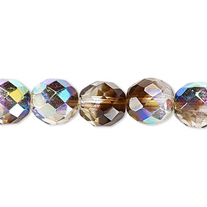 bead, czech fire-polished glass, clear and smoke ab, 10mm faceted round. sold per pkg of 600 (1/2 mass).