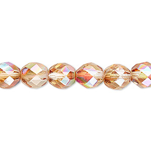 bead, czech fire-polished glass, clear celsian ab, 8mm faceted round. sold per 16-inch strand.