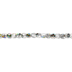 bead, czech fire-polished glass, clear vitrail, 3mm faceted round. sold per pkg of 1,200 (1 mass).