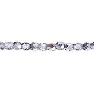 bead, czech fire-polished glass, clear with half-coat metallic lilac, 4mm faceted round. sold per 16-inch strand.