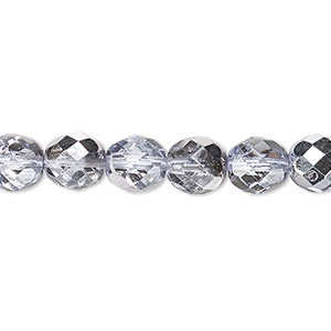bead, czech fire-polished glass, clear with half-coat metallic lilac, 8mm faceted round. sold per 16-inch strand.