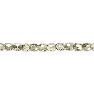 bead, czech fire-polished glass, clear with half-coat metallic mint, 4mm faceted round. sold per 16-inch strand.