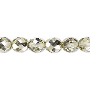 bead, czech fire-polished glass, clear with half-coat metallic mint, 8mm faceted round. sold per 16-inch strand.